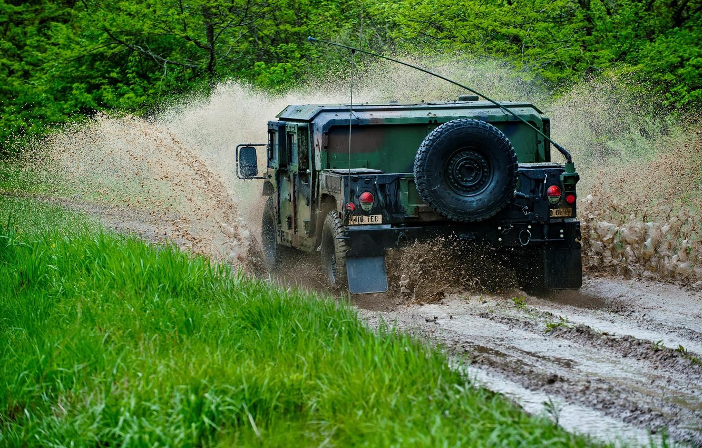 Фото обои лес, брызги, грязь, внедорожник, Hummer