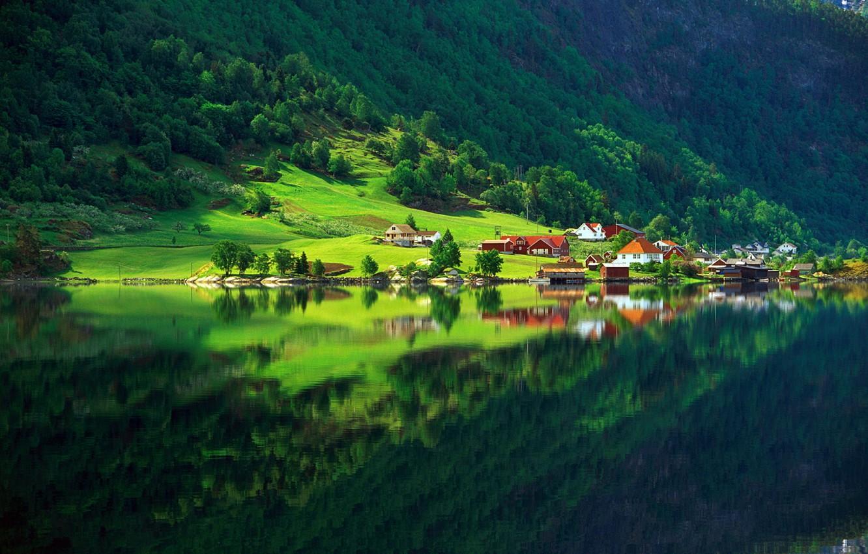 Фото обои зелень, лес, лето, озеро, отражение, дома, Природа, деревня