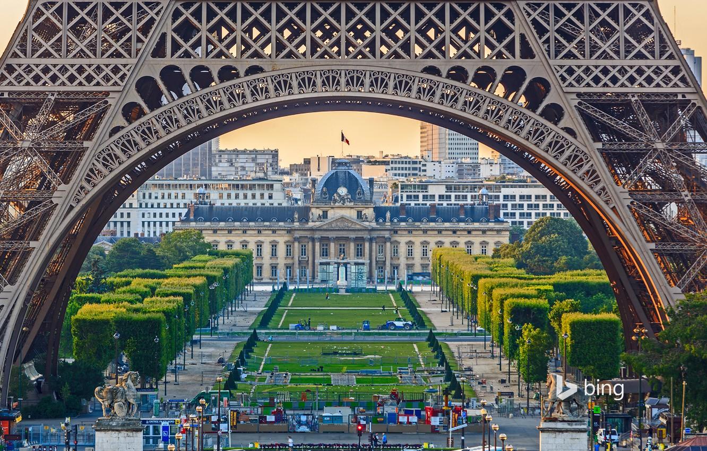 Фото обои деревья, Франция, Париж, Эйфелева башня