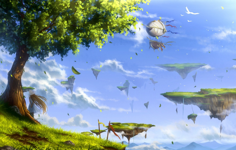 Фото обои небо, девушка, облака, пейзаж, птицы, природа, дерево, аниме, арт, juh-juh