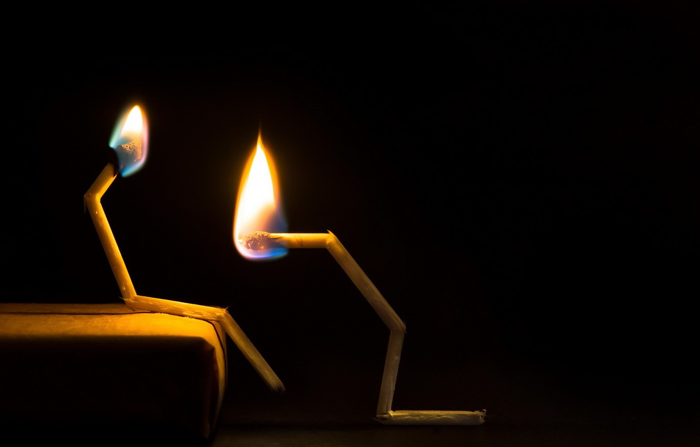 Фото обои фон, огонь, спички