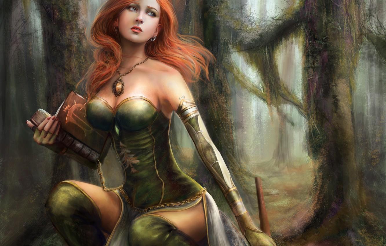 Фото обои лес, взгляд, девушка, деревья, поза, арт, книга, рыжие волосы