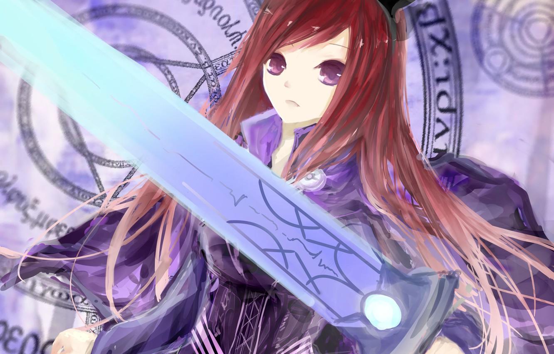 Фото обои девушка, оружие, меч, аниме, арт, ушки, fairy tail, сказка о хвосте феи, erza scarlet, jomill