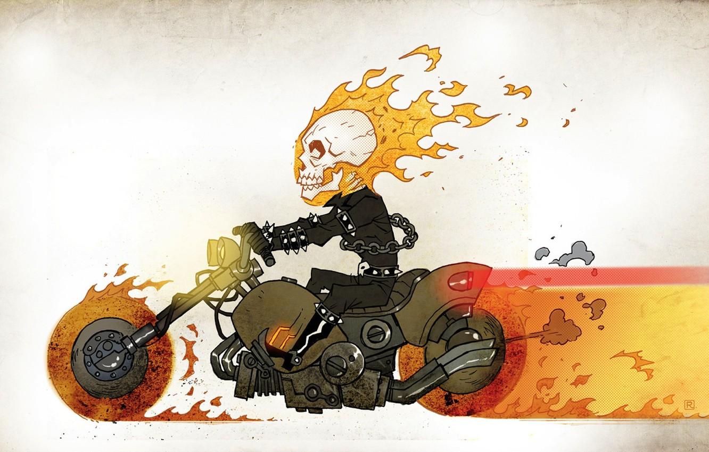 Фото обои огонь, рисунок, череп, цепь, мотоцикл, комбинезон, гонщик, комикс, призрачный
