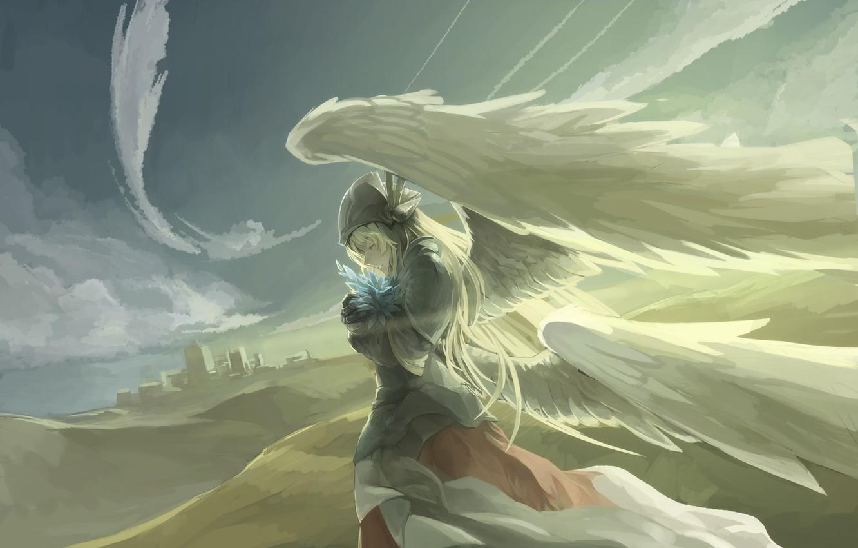 Фото обои небо, девушка, облака, крылья, ангел, аниме, арт, avamone