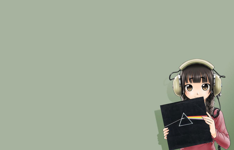 Фото обои Девушка, Наушники, Пластинка, Pink Floyd, Аниме, Anime, Темная Сторона Луны, Дисперсия света, The Dark Side …