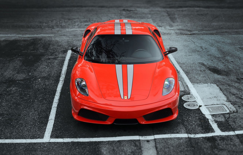 Фото обои асфальт, красный, полосы, парковка, red, феррари, f430, передок, ф430, скудерия, scuderia, frrrari