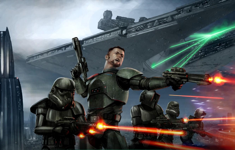 Фото обои Star Wars, Art, Star Destroyer, Battle, Conqueror, Shadow Scouts, Storm Commandos, Victor Strang