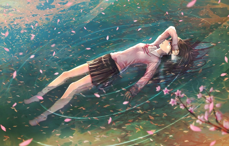 Фото обои письмо, вода, девушка, ветви, аниме, лепестки, сакура, слезы, арт, школьница, jname