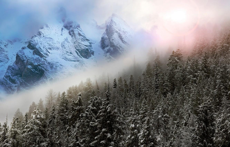 Фото обои зима, небо, горы, туман, блики, фотошоп