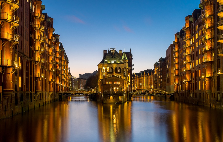 Обои ночной город, германия, каналы, гамбург, speicherstadt, здания, Hamburg, шпайхерштадт, мосты, Germany. Города foto 15