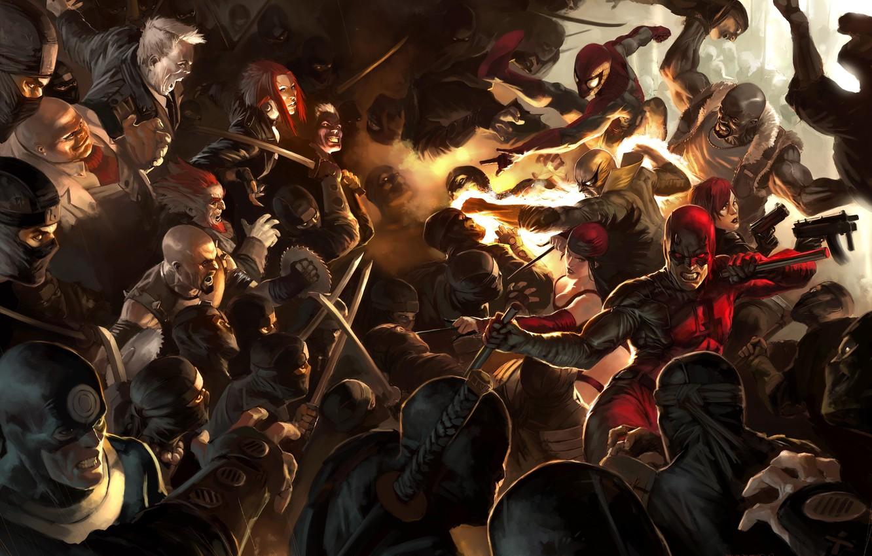 Фото обои Marvel, Owl, Spider-man, ninja, Daredevil, Black Widow, Сорвиголова, Чёрная вдова, Человек паук, Филин, Bullseye, Kingpin, …