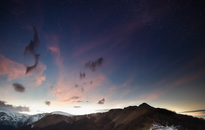 Фото обои star, sky, night, cloud, mountain, snow, balkan, bulgaria