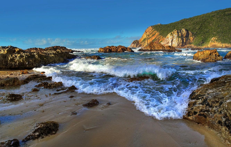 Фото обои песок, море, волны, небо, пена, океан, скалы, берег, побережье, прибой, Африка, waves, sea, ocean, coast, …