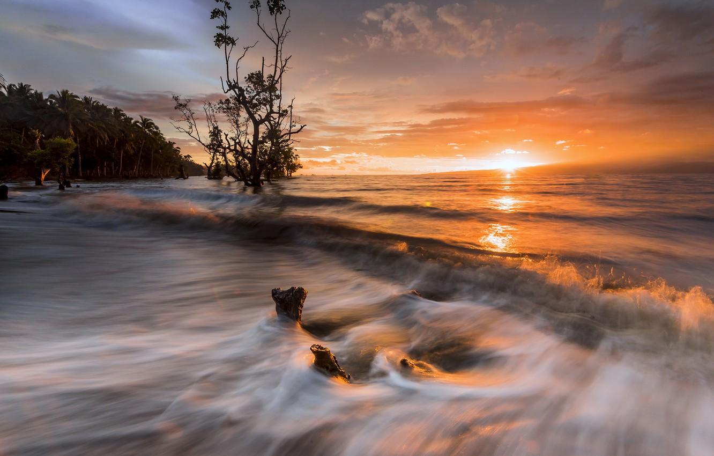 Фото обои закат, природа, берег