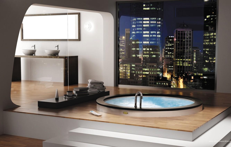 Фото обои бассейн, зеркало, ванна, джакузи, умывальник, ванная комната, гидромассаж