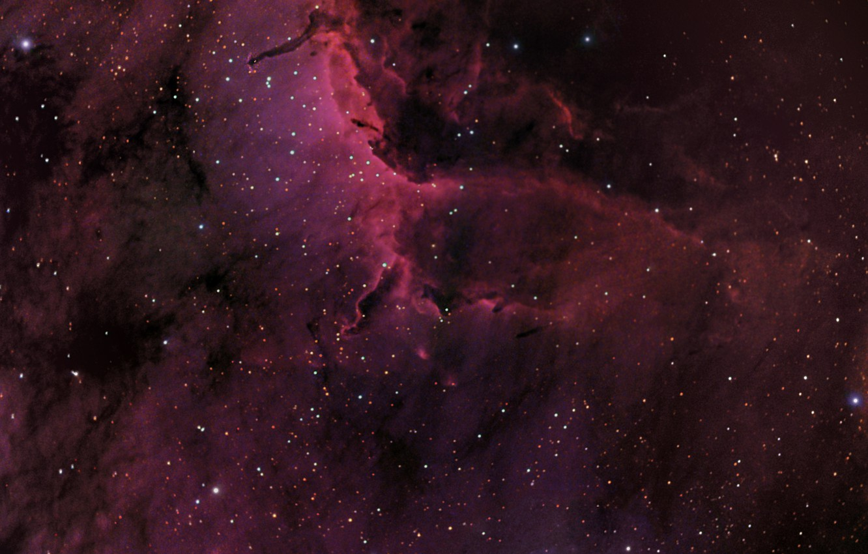 Фото обои космос, Туманность Пеликан, созвездие, мироздание, IC5067