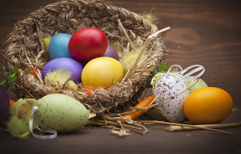 Фото обои праздник, яйца, пасха, гнездо