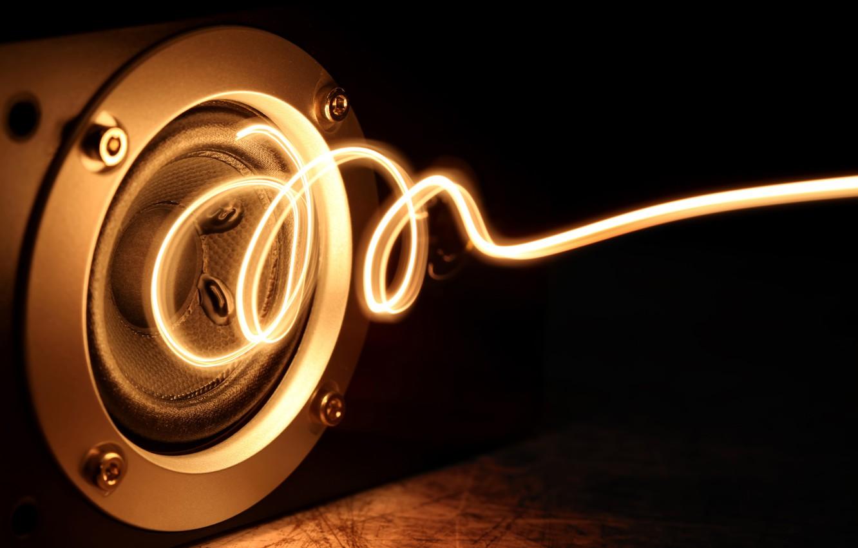 Фото обои энергия, макро, свет, музыка, креатив, сила, свечение, позитив, спираль, music, колонка, динамик, power, energy, боке, …