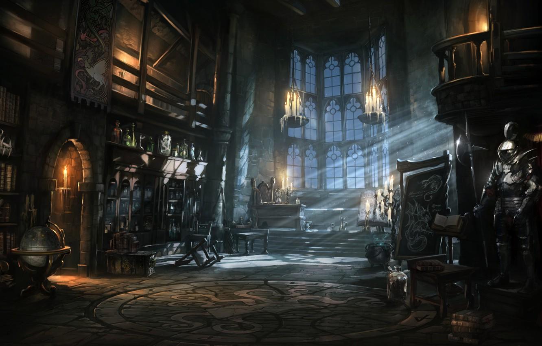 Фото обои ночь, замок, книги, доспехи, свечи, арт, баночки, библиотека, рыцарь, глобус, зелье, Book of Spells, Wonderbook