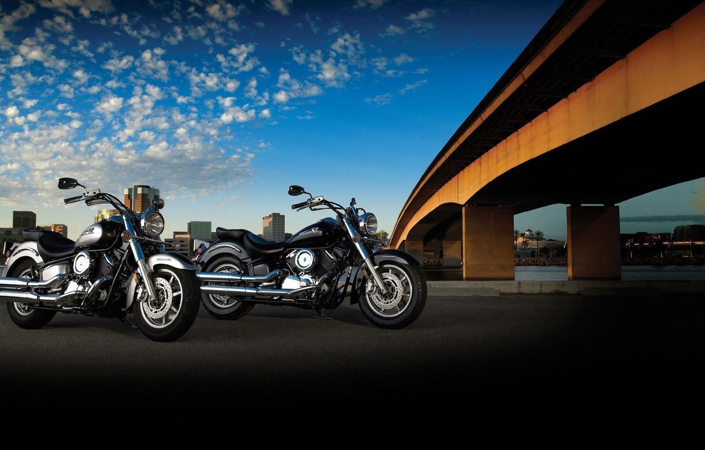 Фото обои дорога, мост, мотоцикл