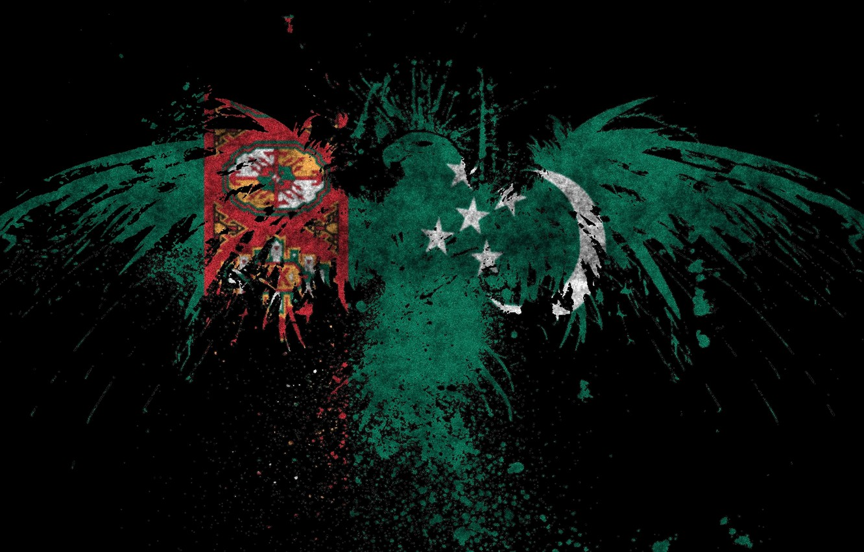 Фото обои флаг, зелёный, орёл, орнамент, Туркменистан