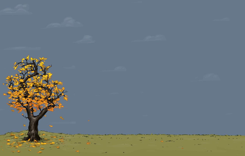 Обои осень, желтый, вектор. Минимализм foto 7