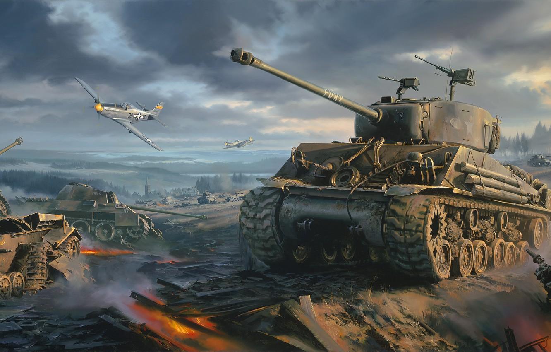 Фото обои war, art, painting, ww2, Movie, P-51 Mustang, Fury, Sherman tank