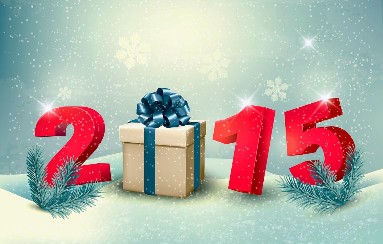 Фото обои подарок, Новый Год, New Year, Happy, 2015