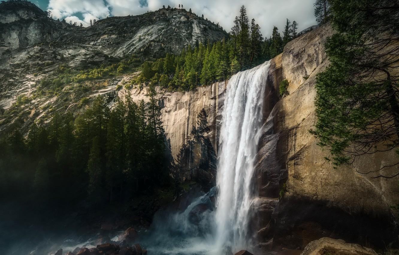 Фото обои Yosemite, waterfall, Vernal Falls