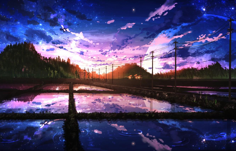 Фото обои дорога, лес, небо, вода, отражение, холмы, столбы, провода, вечер, Япония, Луна, Smile, art, рисовые поля