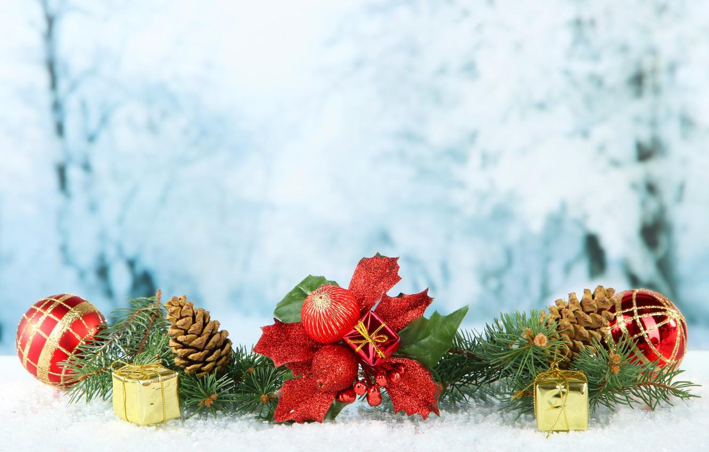 Фото обои шарики, елка, ветка, Рождество, Новый год, New Year