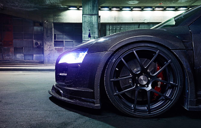 Фото обои Audi, Light, Glow, Night, Tuning, Brake, Carbon Fiber, Wheel