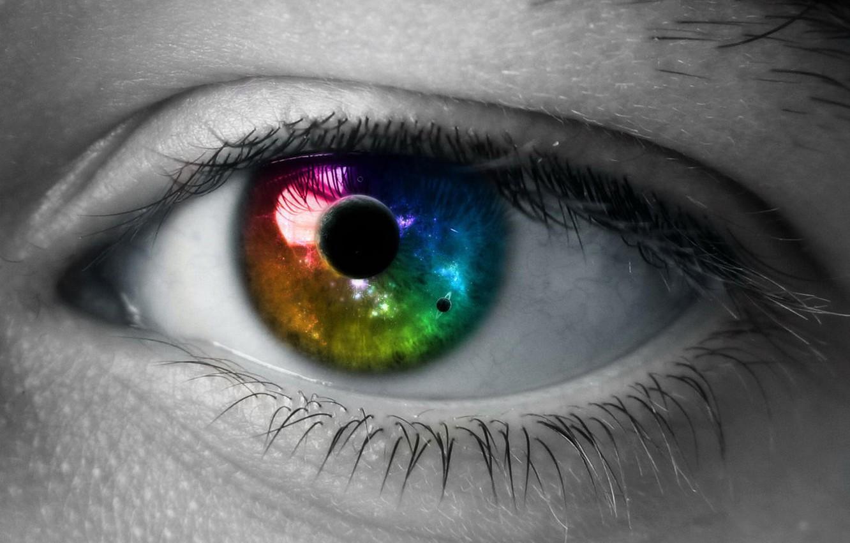 Фото обои цвет, Глаз, Космос, Зрачок