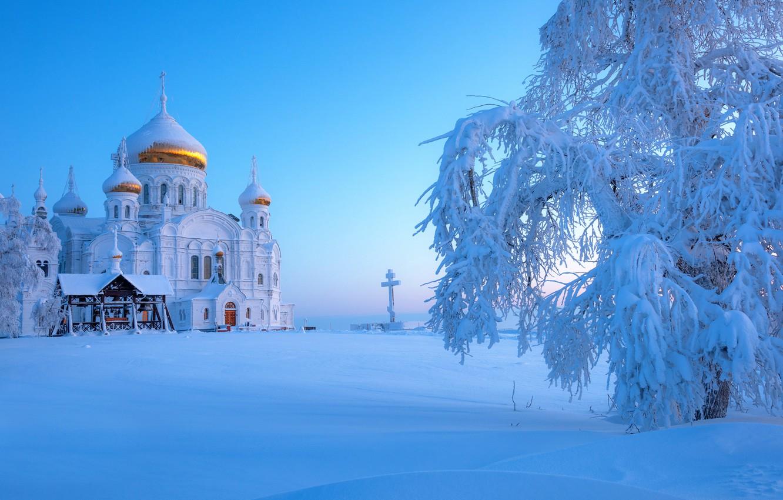 Фото обои зима, снег, Россия, Урал, Белогорский монастырь