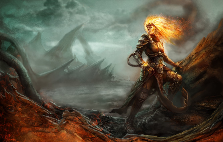 Фото обои девушка, пламя, доспехи, волшебница, Magic: The Gathering, Chandra