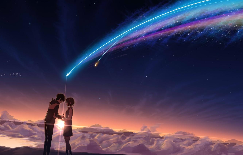 Фото обои небо, девушка, звезды, облака, закат, ночь, аниме, арт, парень, школьники, kimi no na wa, tachibana …