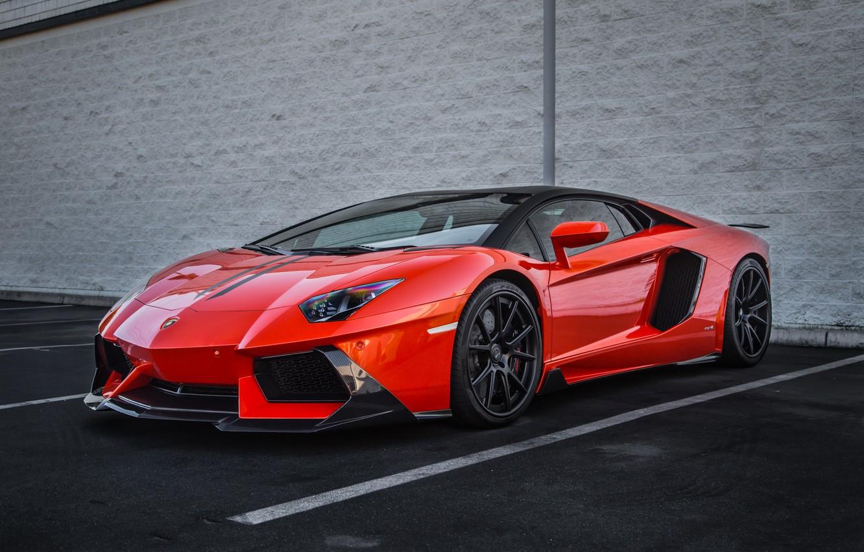Фото обои Lamborghini, Orange, Vorsteiner, Aventador