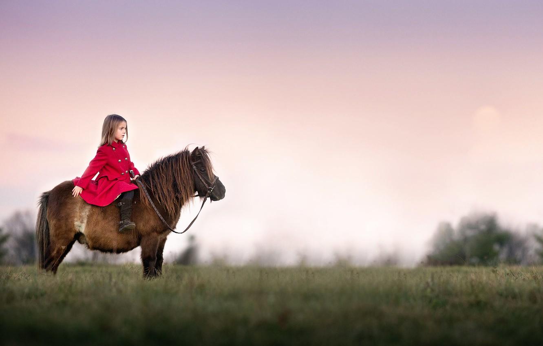 Фото обои девочка, пони, Watchful
