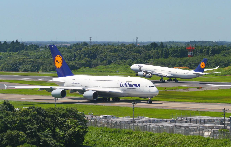 Фото обои Германия, Аэропорт, Полёт, Flight, Germany, A380, Посадка, Lufthansa, Airbus, Аэробус, Люфтганза, 800, Airport, 600, A340, …