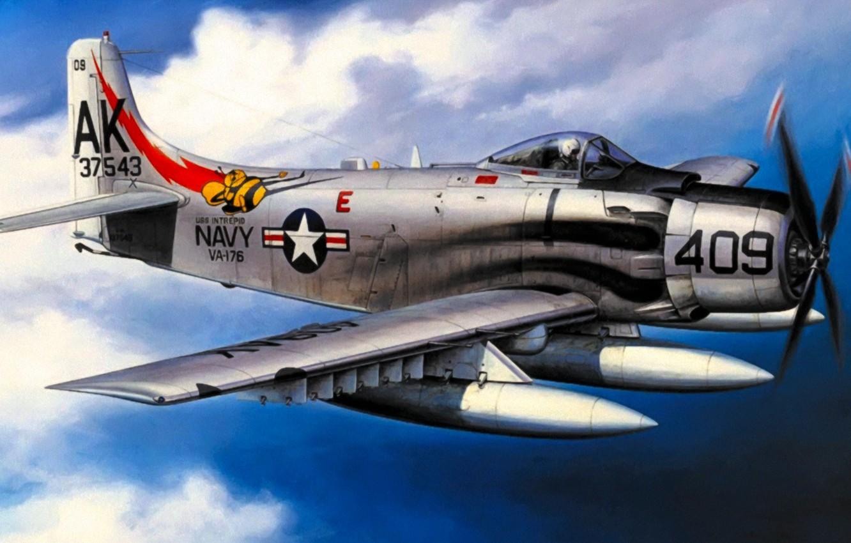 Обои war, Airplane, painting, attacker, aviation, bomber, Douglas A-1 Skyraider. Авиация foto 6