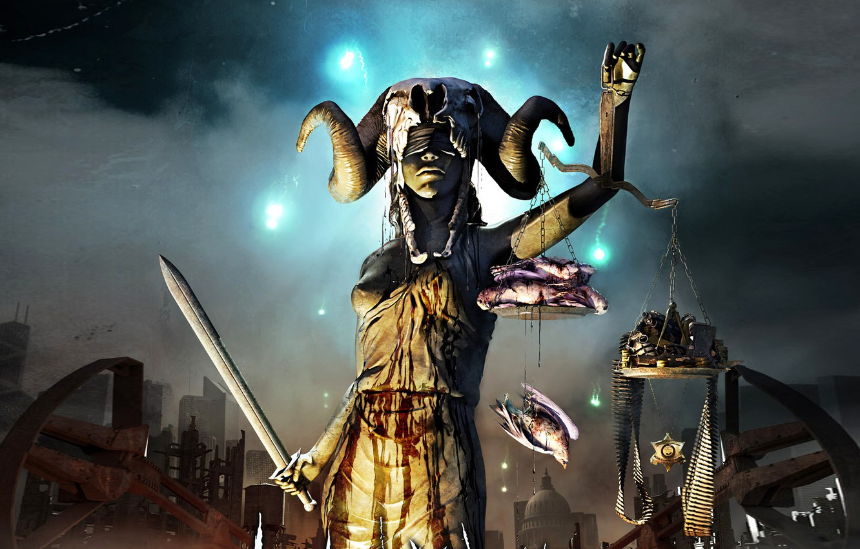 Фото обои меч, весы, богиня, правосудие, слепая, фемида