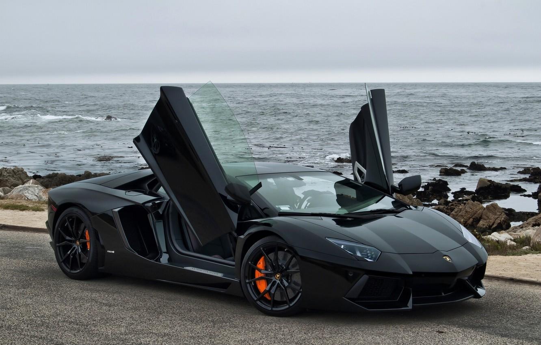 Фото обои побережье, Lamborghini, Калифорния, Pacific Ocean, California, Aventador, Lamborghini Aventador, Тихий океан, Pebble Beach