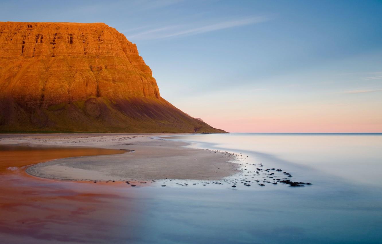 Фото обои Небо, Вода, Песок, Гора, Горизонт
