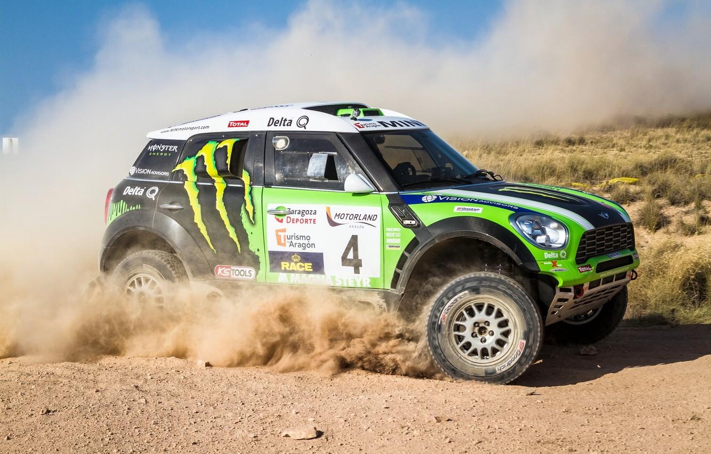 Фото обои Авто, Пыль, Спорт, Зеленый, Машина, Гонка, День, Mini Cooper, Rally, Dakar, Внедорожник, MINI, Вид сбоку, …