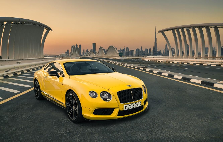 Фото обои Bentley, Continental, Car, Yellow, Luxury, Dudai