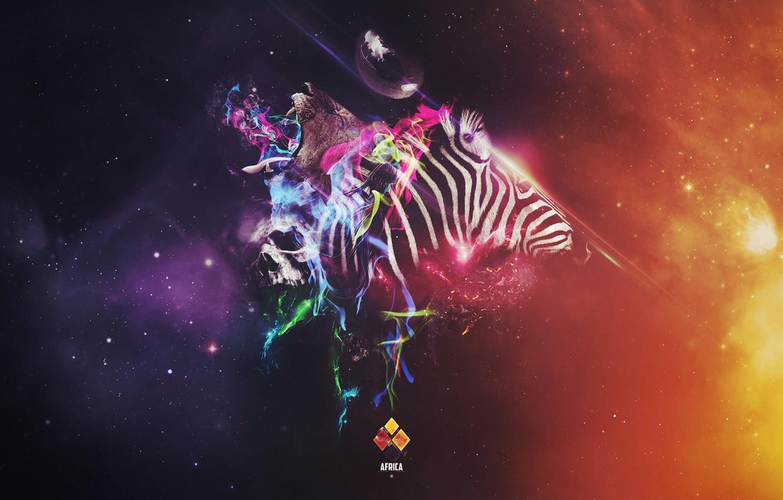 Фото обои коллаж, череп, лев, зебра, африка, africa