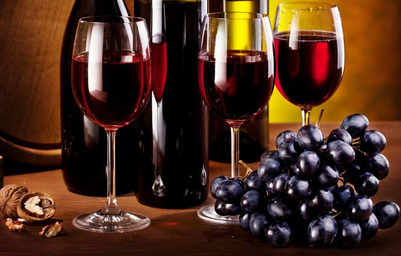 Обои Бутылки, кисть, орех, гроздь, виноград, бокалы, вино. Еда foto 9