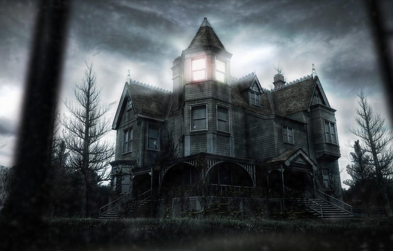 Фото обои свет, деревья, тучи, дом, лестница, дворик, мрачно