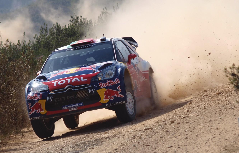 Фото обои Авто, Пыль, Спорт, Машина, Скорость, День, Citroen, Автомобиль, Red Bull, DS3, WRC, Rally, Ралли